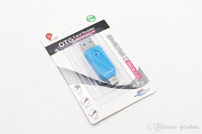 Lector de tarjetas 2 en 1 con ranura SD Micro SD TF Adaptador OTG Micro USB 2.0 para computadora con tableta Android