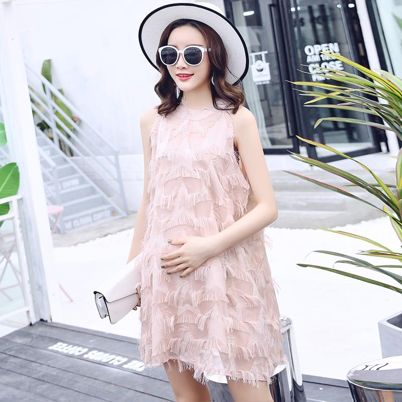 0268787d163 2019 European Street Style Tassel Chiffon Maternity Dress Summer Fashion  Clothes For Pregnant Women Sexy Pregnancy Clothing From Mingway245