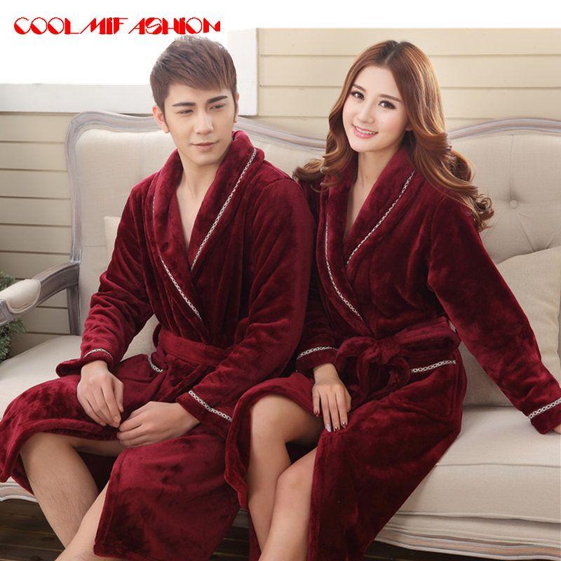 1f648b941a 2019 Sexy Men Women Luxury Winter Bathrobe Mens Warm Silk Flannel Long  Kimono Bath Robe Male Bathrobes Lovers Night Dressing Gown From Blairi