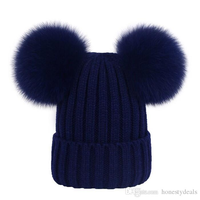 dd839e1a379 Children Kid Child 100% Real Genuine Fox Fur With 2 Pompom Ball Knitted Hat  Beanie Cap Cool Hats Cloche Hat From Honestydeals