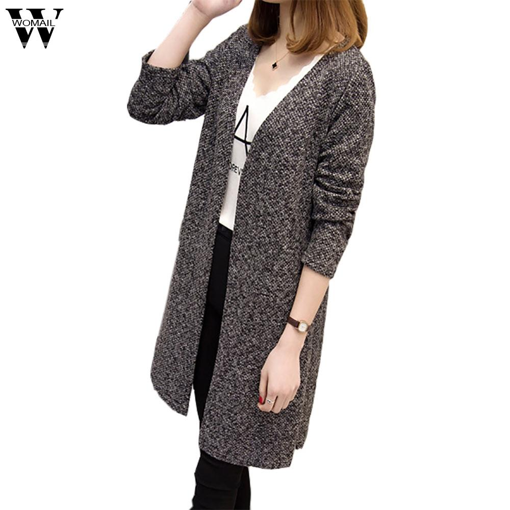 6945c0c63 2019 WOMAIL Plus Size Black Cardigans Sweater For Woman Fashion ...