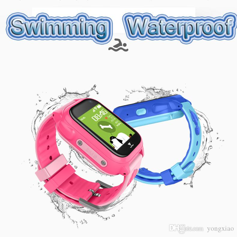 Children Swimming Anti-Lost GPS Smart Watch Kids SOS Call Location Tracker  Wristwatch Baby Safe Guard IP67 Waterproof Color Screen Camera