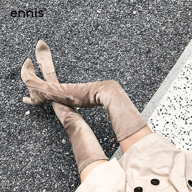 48daca7aec6 ENNIS 2018 SLIM FIT Womens Thigh High Boots High Heels Autumn Winter Khaki  Black Over Knee Stretch Boots Lace Up Shoes NEW L830 Cheap Cowgirl Boots  Mens ...