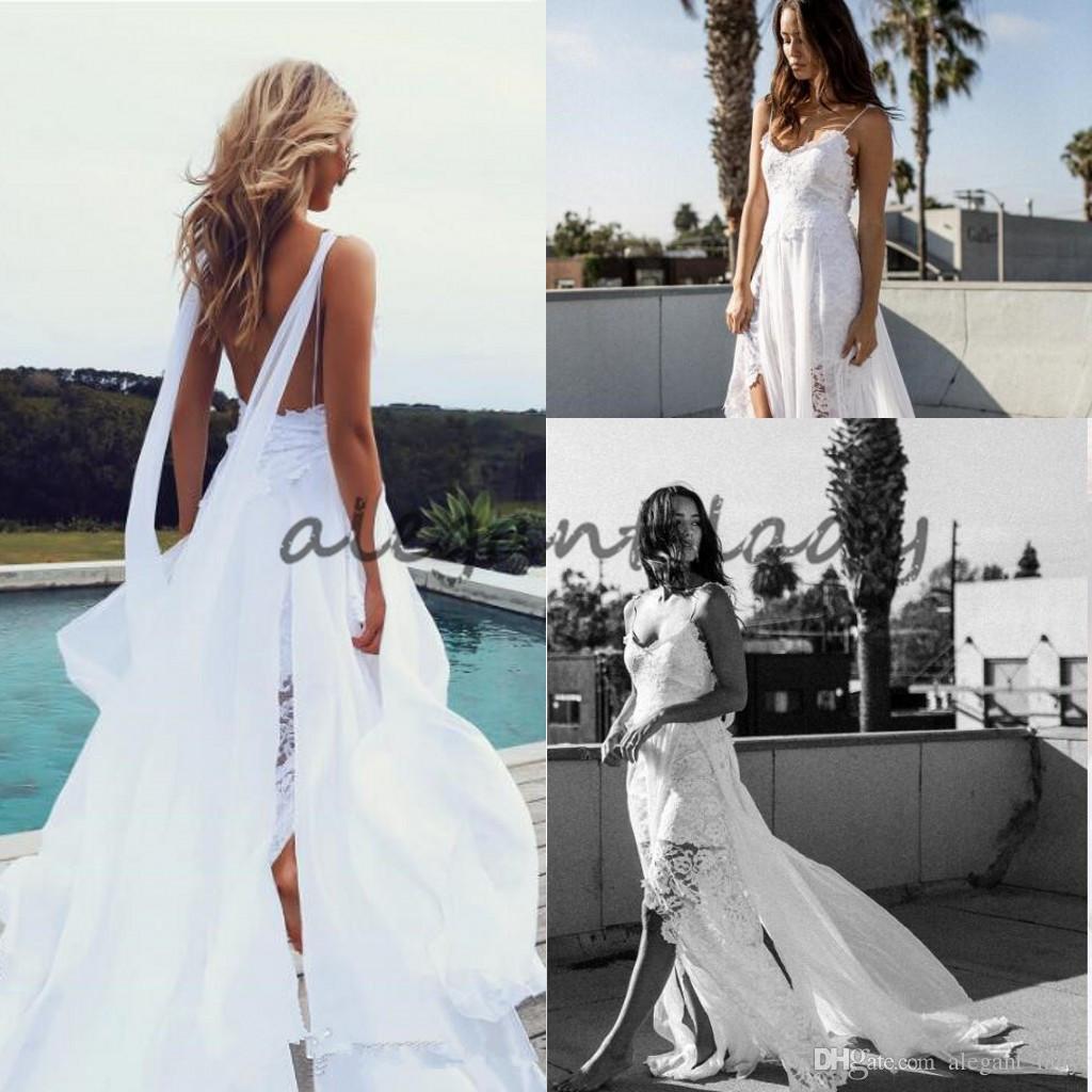 2018 Strand Griechische Göttin Brautkleider sexy Slits weiche Spitze Mieder mit kunstvoll handgeschliffenen Spitzen und Vorhänge aus Chiffon fließenden Braut Kleid