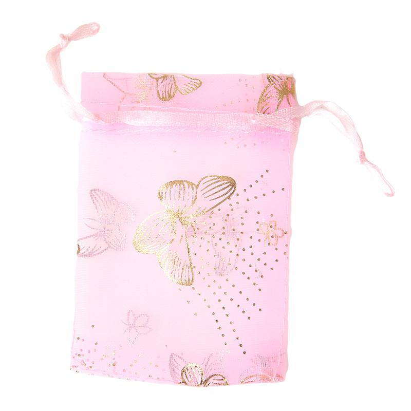 Organza Mesh Jewelry Packaging Bags & Pouches Customize White/Pink Jewelry Gift Bags Printed Drawstring Bags 120074