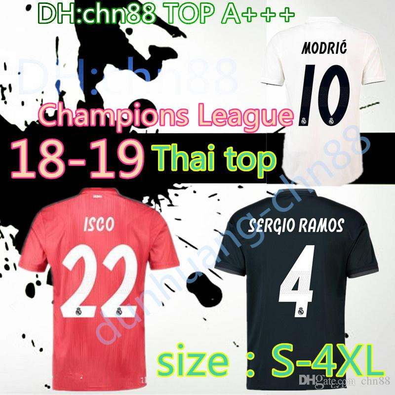 2019 2018 2019 Larger Size XXL XXXL XXXXL Real Madrid Soccer Jersey 18 19  RONALDO Away Black JAMES BALE RAMOS Champions League Patches Shirts From  Chn88 62a949fcc