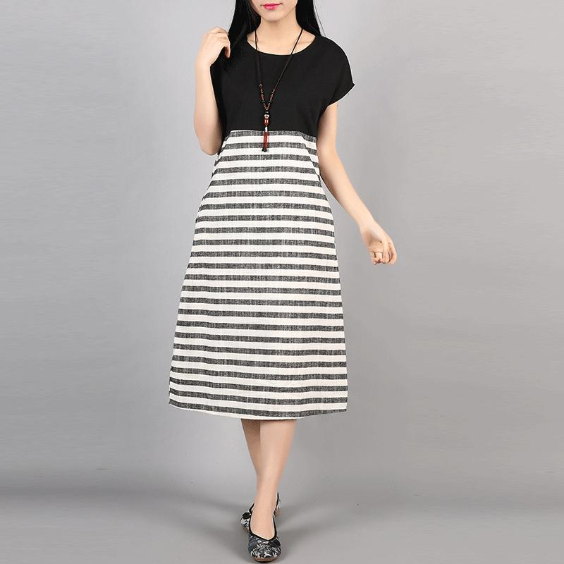 F&JE Plus Size Clothing New 2017 Spring And Summer Fashion Patchwork Striped Comfortable Cotton Linen Women Casual Dresses J135