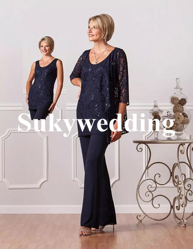 Lace Mother of the Bride Suits Navy Blue Plus Size Lace Women Dresses Evening Party Evening Wear Mother Of The Groom Dresses