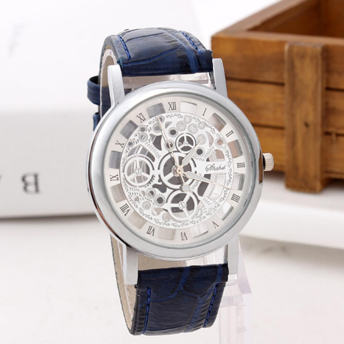 Meboyixi  Fashion Quartz Skeleton Watch Men Style  transparent Hollow Business Dress Wristwatch Leather Watch