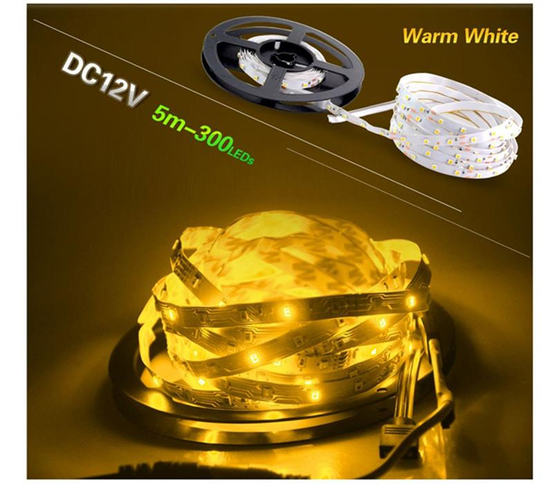 LED 스트립 빛 DC12V 5m 300 LED SMD3528 5050 5630 Diodetape 단일 색상 고품질 리본 유연한 홈 데코테이션 조명