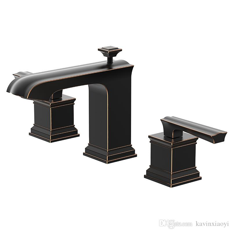 2018 Three Hole Oil Rubbed Bronze Bathroom Sink Faucets Widespread ...