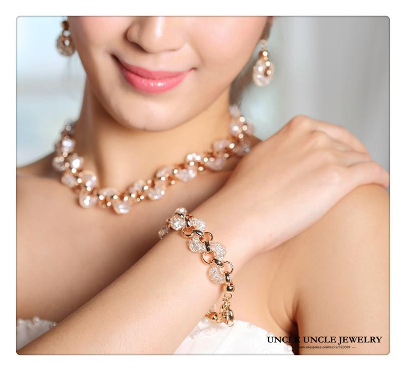 Bride Jewelry Set Gold-color Austrian Zirconia Crystal Inside Nets Design Wedding Necklace / Bracelet / Earring Wholesale