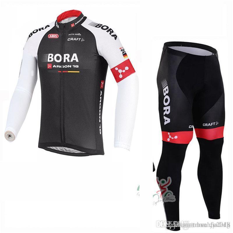 BORA Team Cycling Long Sleeves Jersey Bib Pants Sets Bicycle ... ab849d351