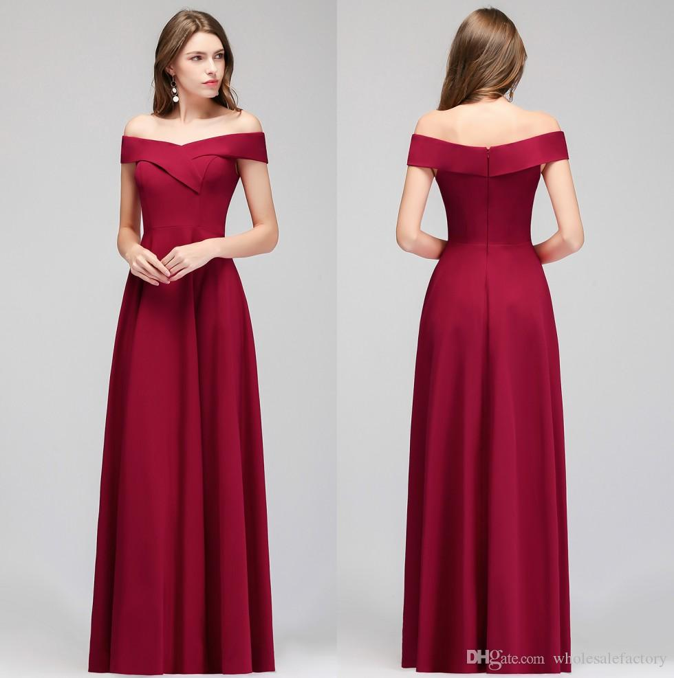 bae878fca36 2019 Burgundy Spandex Long Bridesmaid Dresses Off The Shoulder Ruched A  Line Floor Length Formal Maid Of Honor Wedding Guest Dresses CPS987 Black  Bridesmaid ...