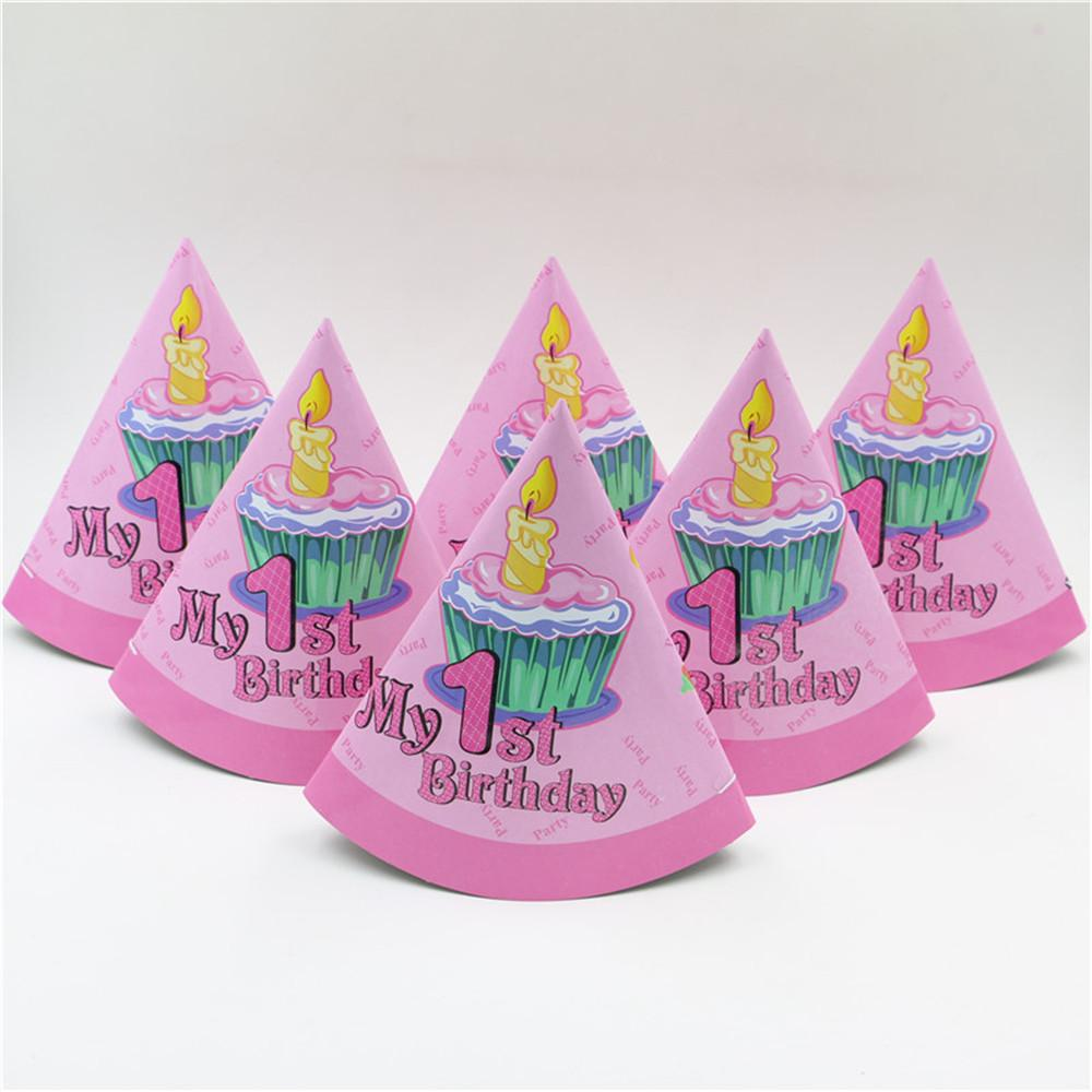 party cap girl's one years old birthday cone hat caps with strings happy birthday party decoration supplies kids favor
