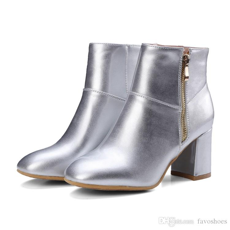 6c388eaeb6e Hot Sale Womens Ladies Solid Color Square Toes Shoes Chunky Heel Zip Ankle  Boots FS-B886 Size All customized By Favoshoes