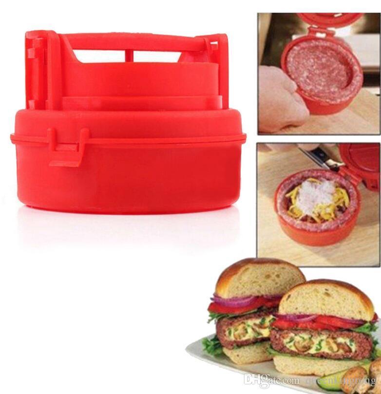 Nouveau Burger en plastique bourré faisant la presse Hamburger et Meat Patties Maker Cuisine Outil de cuisson Moule Couleur Rouge