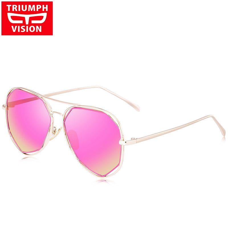 99b9c63c92387 Compre TRIUMPH VISION Gafas De Sol Polarizadas Mujer Pink Mirror Brand 2017  Pilot Polar Gafas De Sol Para Mujer Metal Shades Estilo Femenino A  47.54  Del ...