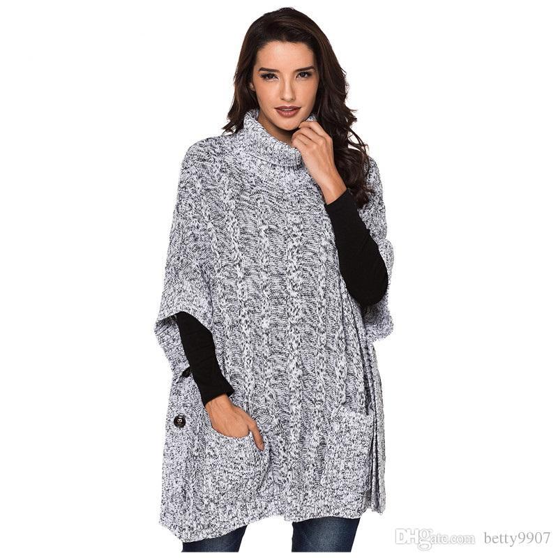 Compre Designer De Outono Camisola De Gola Alta Poncho Pullovers De Malha  Das Mulheres Do Vintage Roupas Jumper Cinza Estilo De Bolso Casaco  Oversized De ... f492164bf07d3