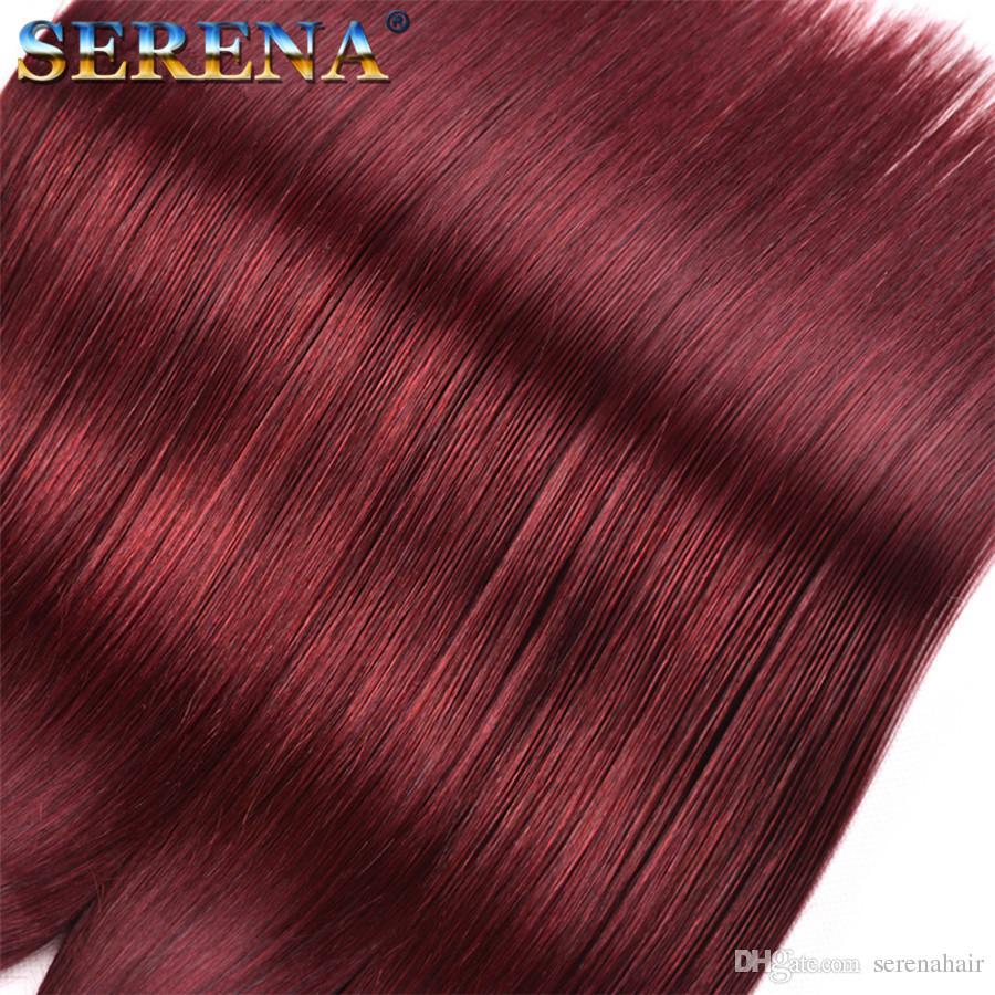 Brasileiro Burgundy Virgin cabelo com laço frontal Encerramento Com 3 Pacotes Cor 99J Vinho vermelho directo Tece cabelo com 13x4 Lace frontal