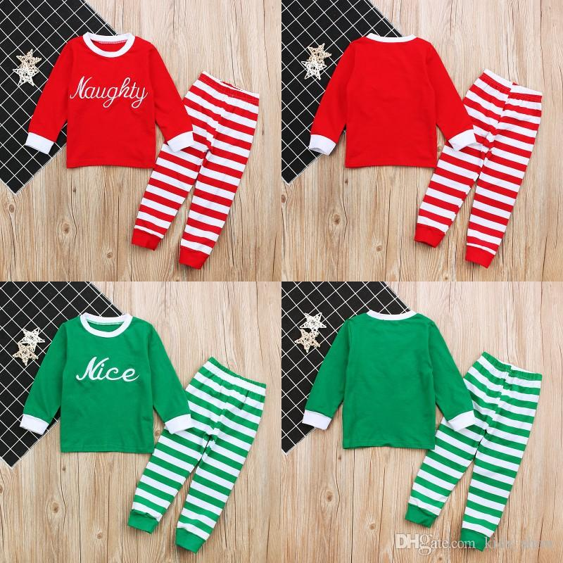 a97d97b48de6 Baby Christmas Pajamas Infant Baby Boys Girls Long Sleeve Striped Tops With  Pants Pajamas Set Kids Christmas Sleepwear Outfits Clothing Pajamas For  Teenage ...
