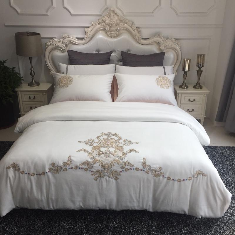 aa88db5619 60S Percale Egyptian Cotton Bedding Set White Duvet Cover with Luxury  Golden Embroidery Bed Linen Satin Bedclothes Queen Bedding Sets Cheap Bedding  Sets 60S ...