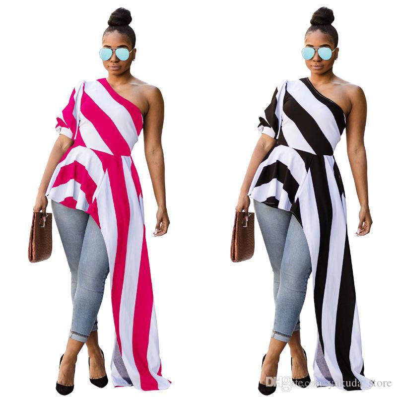 8c4af21d20b6 Acquista La Migliore Qualità 2018 Nuovo Stile Top Donna Abito A Righe Una  Spalla Mezza Manica Ruffle Senza Spalline Asimmetrico Maxi Dress Vestido A   14.08 ...