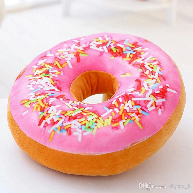 Doughnut Pillow Donuts Ring Shape Sofa Pillow 3D Soft Ring Chair Back Cushion Creative Plush Toys Gifts Home Decor Pillow 12 Styles YFA252