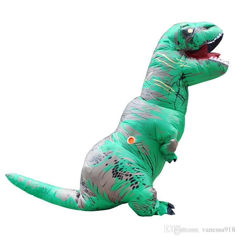 Erwachsene T-REX Aufblasbare Kostüm Maskottchen Party Grün Blau Dinosaurier Tier Overall Halloween für Frauen Männer LJ-006
