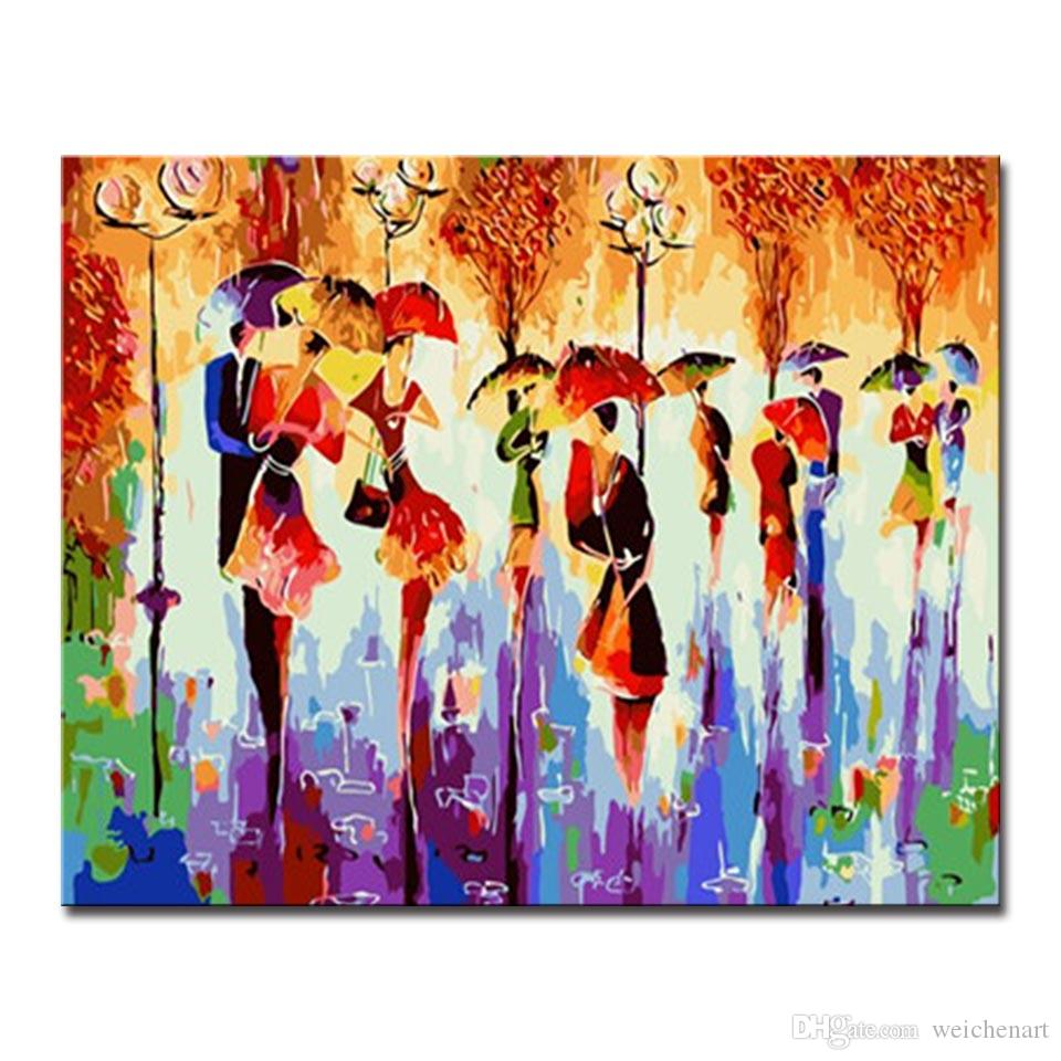Kits Coloring Framework DIY By Numbers Painting Acrylic Colorful Dancing Paint On Canvas Fashion Picture For Home Decor Cuadros