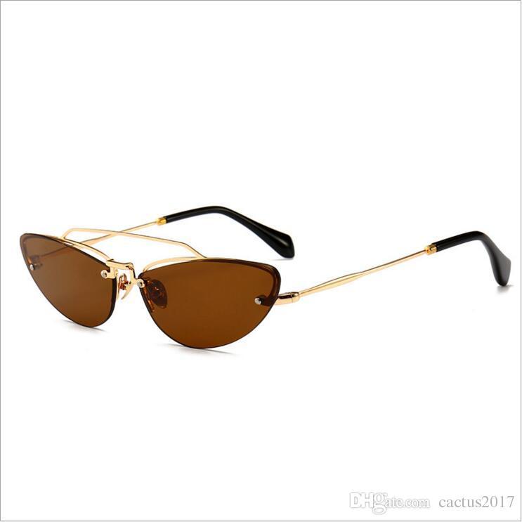 0a8d9faa476 Summer 2018 New Cute Sexy Retro Cat Eye Sunglasses Women Small Black  Rimless Vintage Sun Glasses For Ladies Uv400 Polarised Sunglasses Baby  Sunglasses From ...