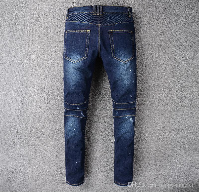 88100 # Heren verfraaide geribbelde stretch Moto Broek Geolied Geschilderd Biker Jeans Slank Blauw Broek Maat 29-42