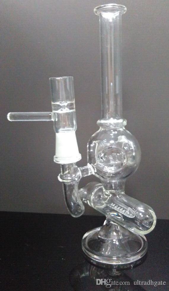 Nuevo 3 orificios bola de vidrio reciclador bong colat perca perc 8.1 pulgadas de espesor tubos de vidrio para fumar agua con junta de 14 mm