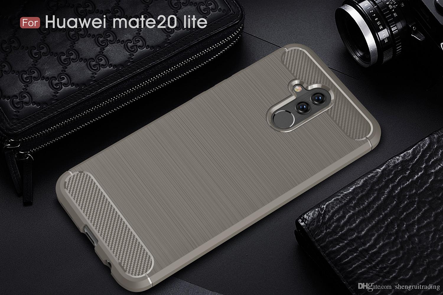 Business Case Business case For Huawei Mate 20 Lite Maimang 7 Carbon Fiber Brushed TPU Phone Back Case Cover For P20 Lite P20 Pro