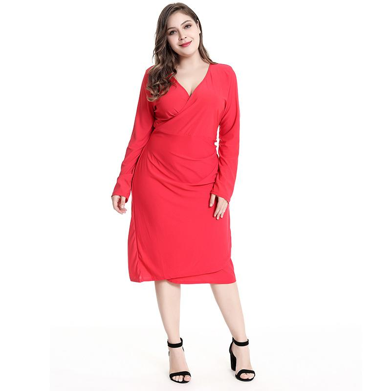 6ed416c2a2c9 2019 2018 Autumn Solid Plus Size Women Dress Big Size Red Black Elegant  Work Office Dresses Large Size Women Clothing From Hengda999, $10.06 |  DHgate.Com