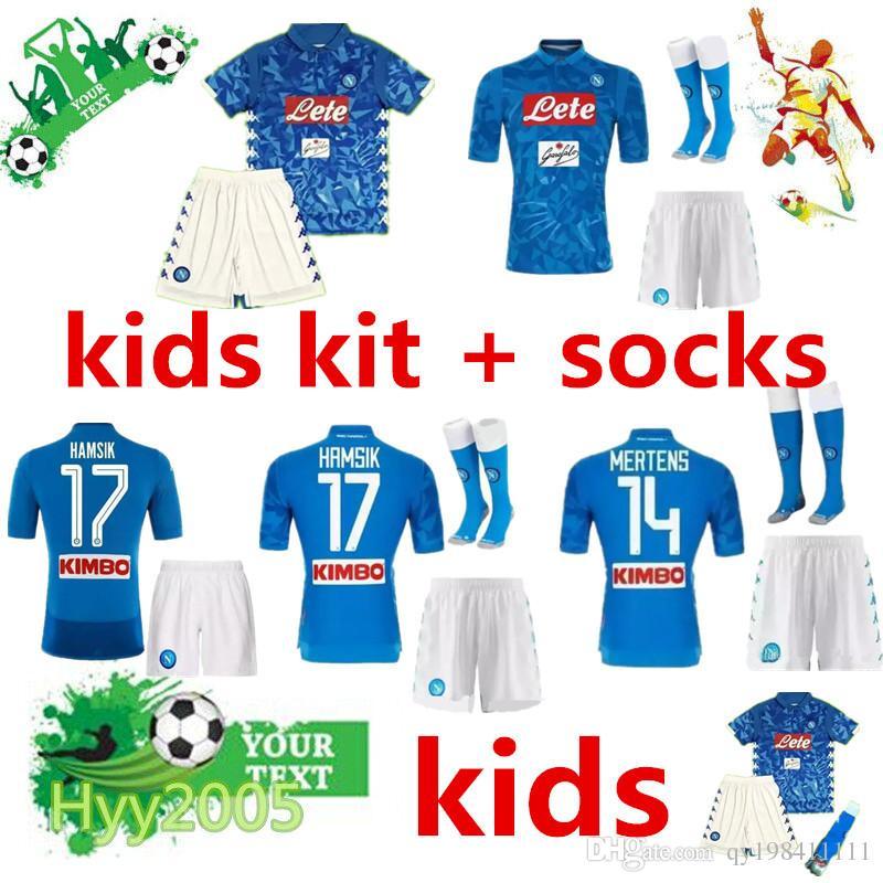 bc41583ed Napoli Kids Soccer Jersey Kits+socks 2018 2019 HAMSIK MERTENS MILIK ...