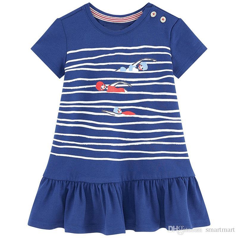 a60d3b69f 2019 Everweekend Girls Cartoon Print Striped Ruffles Dress Cute Baby ...