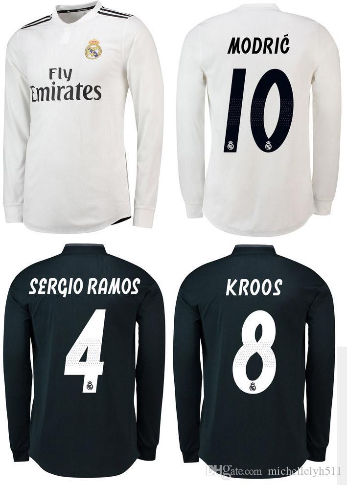 Compre 18 19 Camisola De Futebol Do Real Madrid BALE MODRIC RAMOS Camisolas  De Futebol Do Manga Total 2018 2019 Camisola De Futebol De Manga Comprida  Thai ... dba2eefcba748