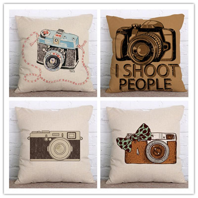 Retro Style Retro Camera Pattern Cover Decoration Throw Pillow Cover