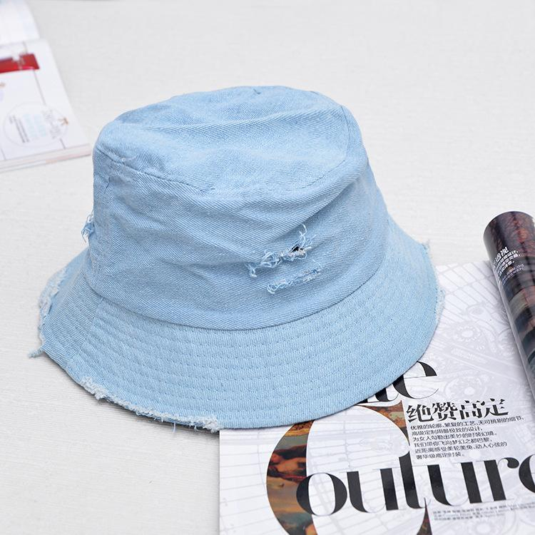 d1f12bfe333 2018 Leisure Outdoor Cowboy Hole Do Old Fisherman Hat Men Women Bucket Cap  Sun Hat Unisex Denim Blue Fashion For Summer Foldable Bailey Hats Scrub  Hats From ...