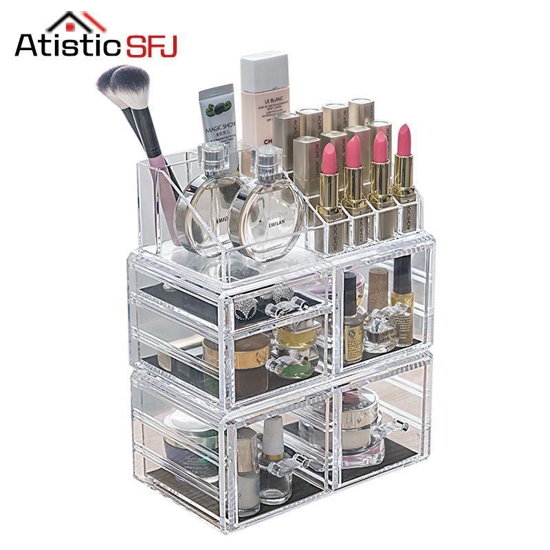 7511b3ae8c5f Clear Acrylic Cosmetic Organizer Box Makeup Storage Drawer Desk Bathroom  Makeup Brush Lipstick Holder Desktop Storage Box