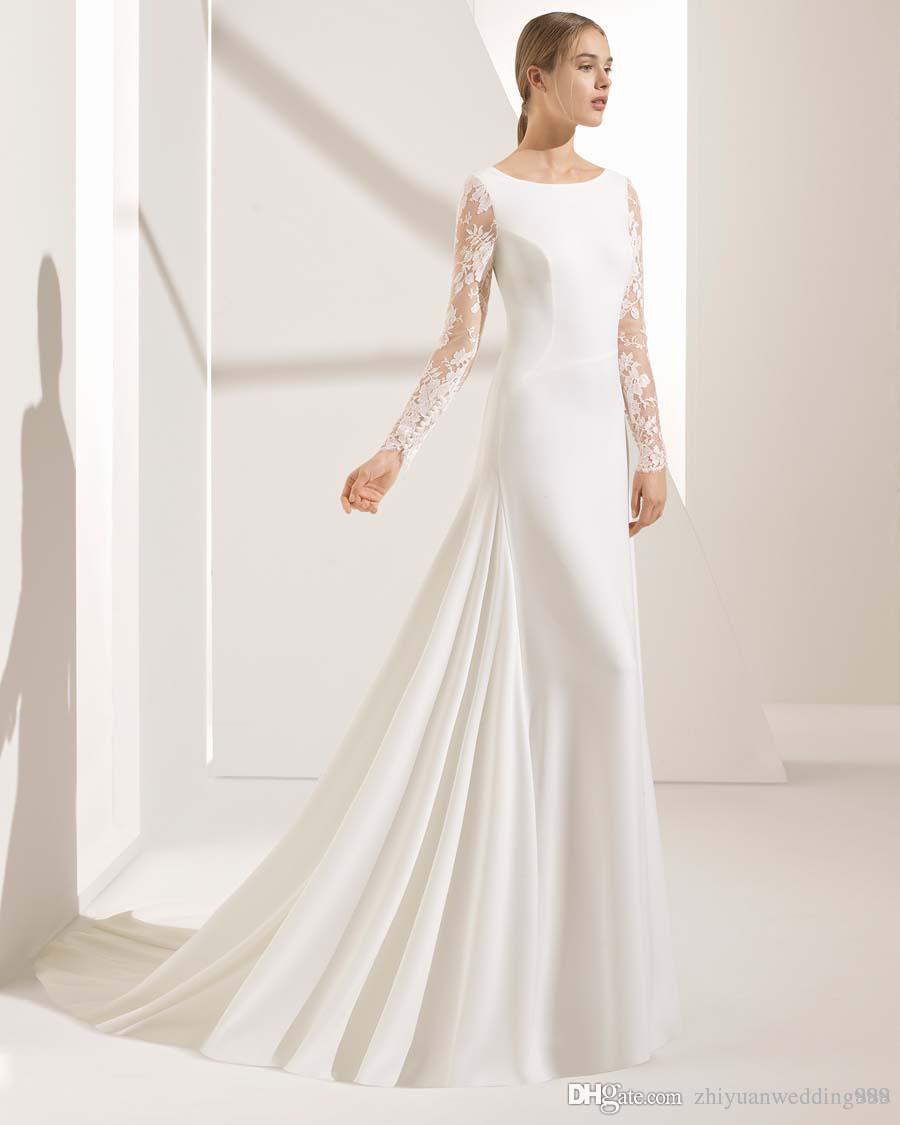 Silk Crepe Long Sleeves Mermaid Wedding Dresses 2018 Rosa Clara Bateau Neckline Sheer Lace And Back Chapel Train In Uk: Silk Mermaid Wedding Dress Sleeves At Reisefeber.org