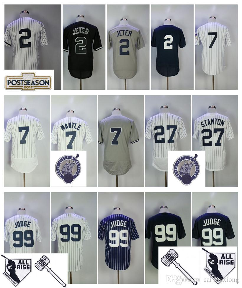 uk availability 20c0e f7bd2 Men's 2 Derek Jeter Jersey 27 Giancarlo Stanton 99 Aaron Judge New York Men  Baseball Jerseys