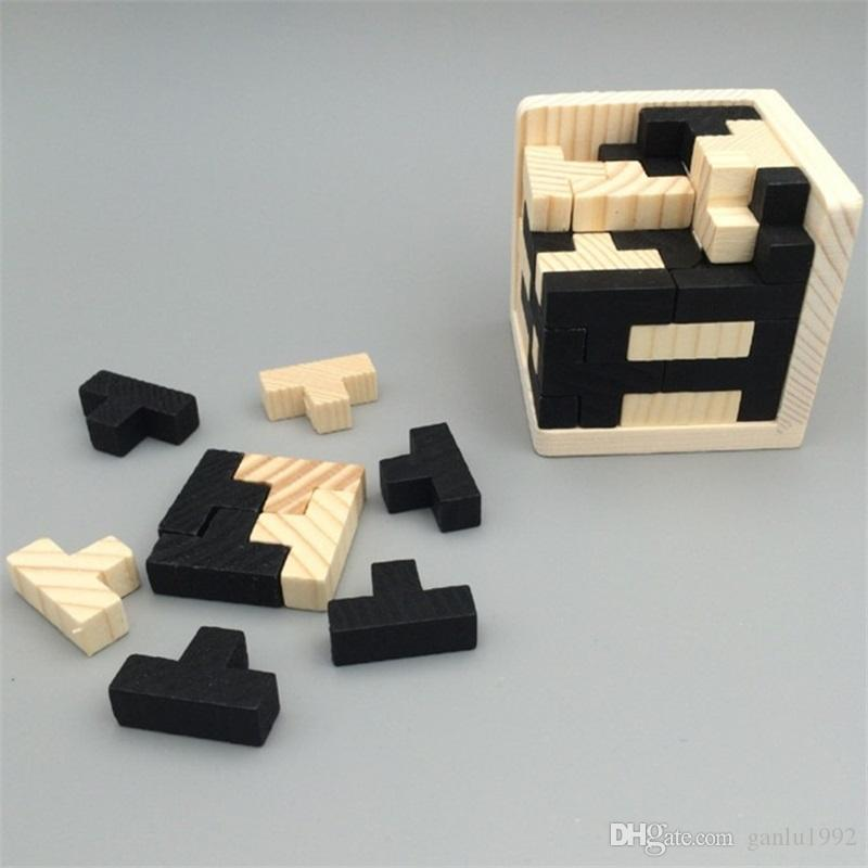 Traditional Wooden Magic Bucket Puzzle Toys Tetris Black And White 54T Combination Kong Ming Lock Intelligence Toys 9cb W