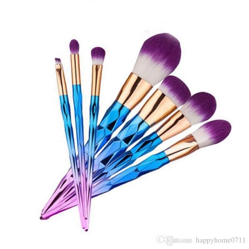 Party Unicorn Colorful Thread High Quality Microfiber Bright Makeup Brush  Ultra Fine Soft Fiber Bristle Brush 5pcs/set and 7pcs/set Optional
