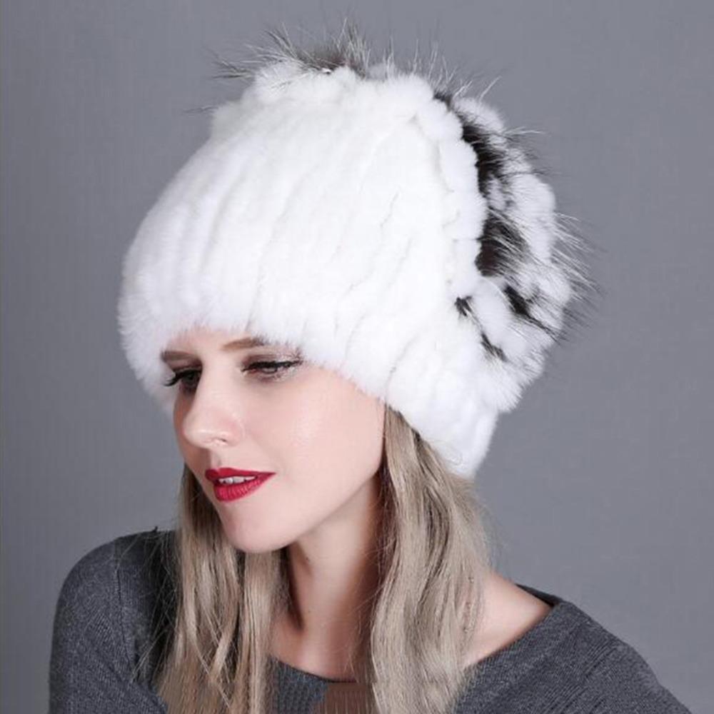 02343bc1d68f5 2019 Rex Rabbit Fur Hat For Women Natural Raccoon Fox Fur Hats Ear Warmers  Winter Thick Fashion Bomber Caps From Duweiha