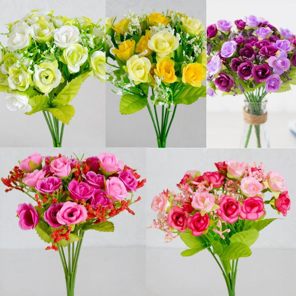 Silk Flower Wedding Bouquet Roses Artificial Flowers Fake Leaf