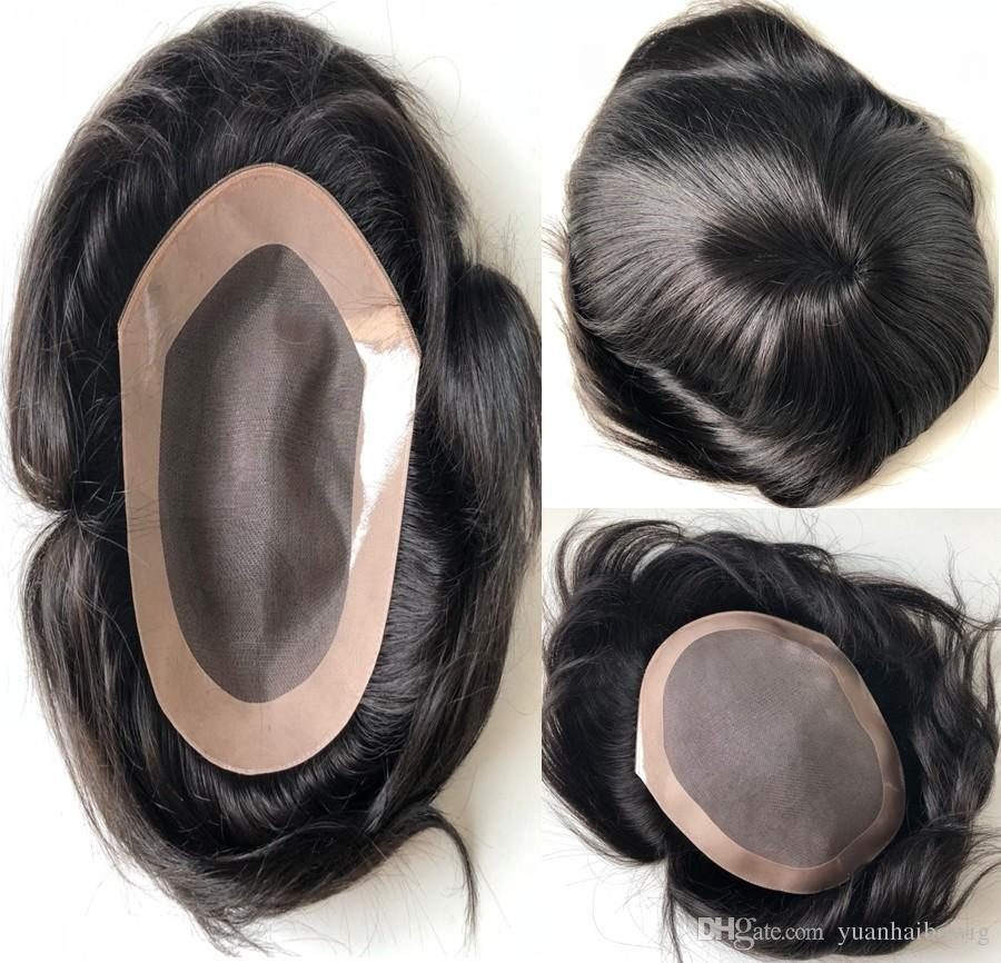 DHL Fedex TNT express Stocked Mens Toupee Super Thin base mono lace and PU Arround Real Human Hair Toupee Top Quality