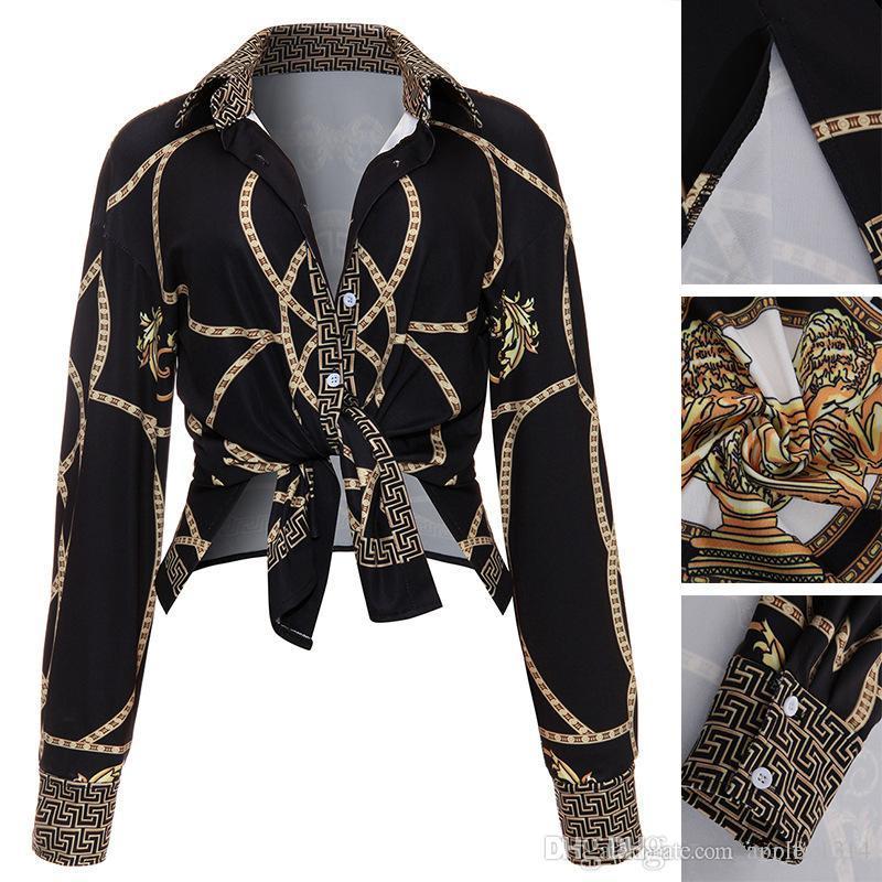 2019 mode Goldkette Frauen Shirts Langarm Sexy Damen Tops Büro Club Party Blusen Umlegekragen Weibliches Hemd Kleidung