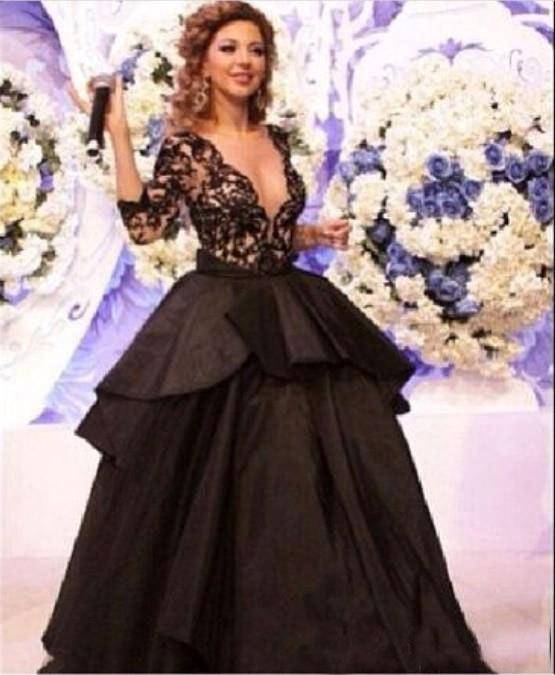 Hot Sales 2018 myriam fares dress real picture Three Quarter sleeve Ball gown Black V-neck celebrity dresses ZY144
